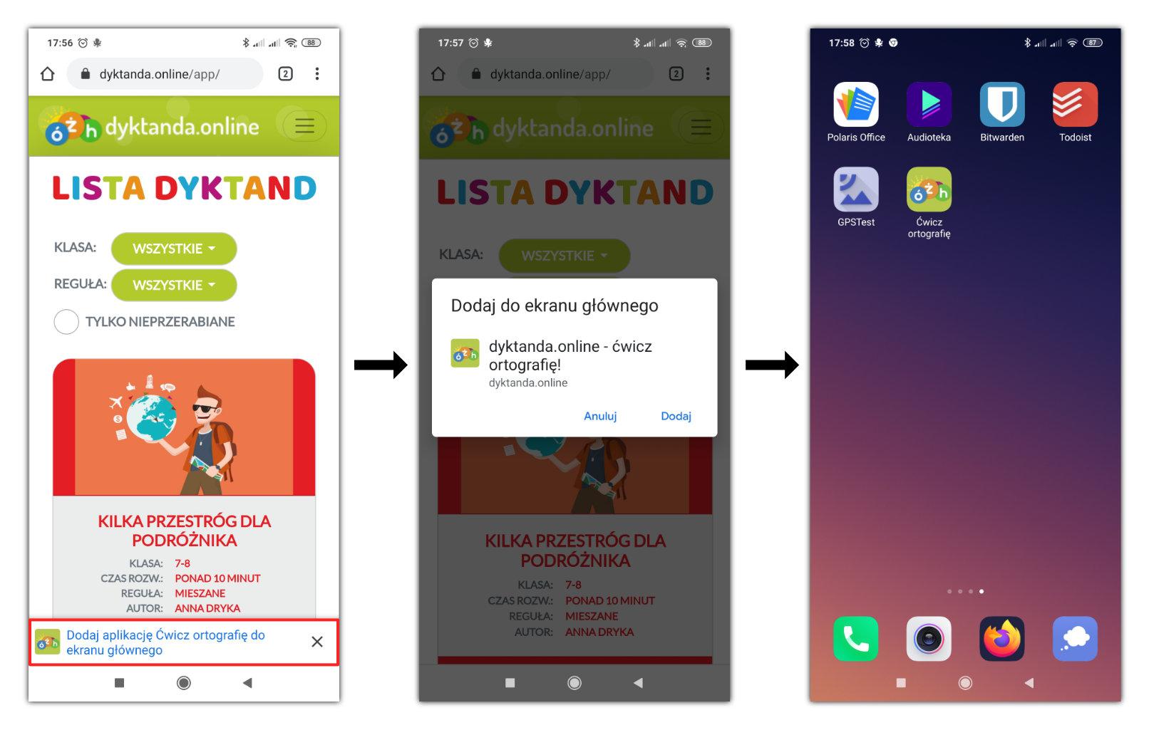 Instalacja aplikacji dyktanda.online na Androidzie