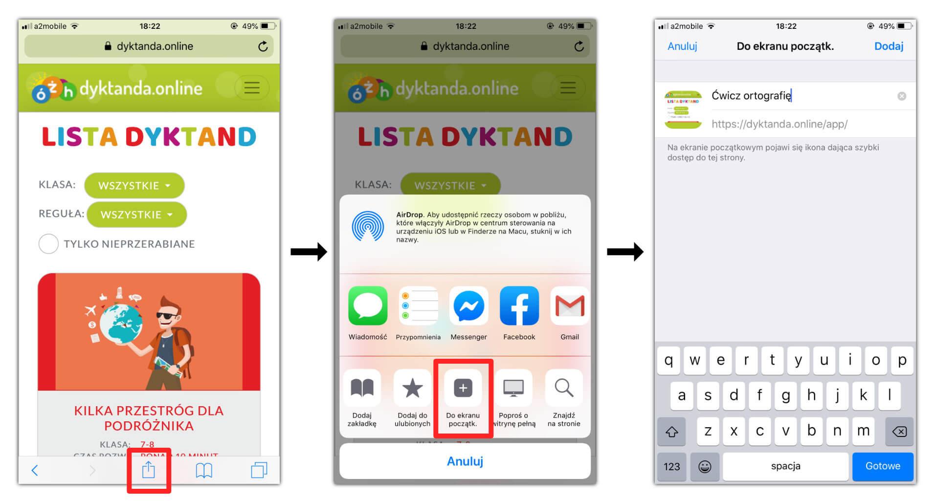 Instalacja aplikacji dyktanda.online na iPhone